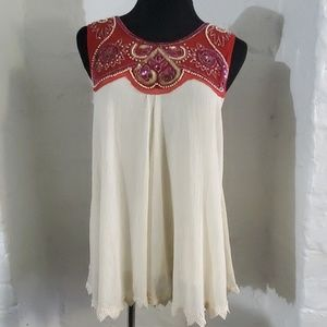 Free People Sequin Embroidered Top